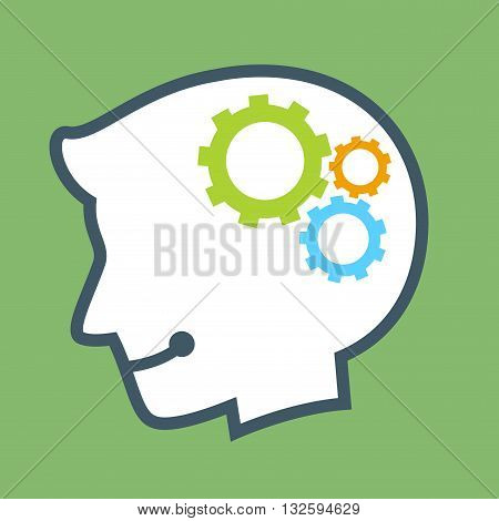 Vector stock of human head silhouette with industrial gear icon inside