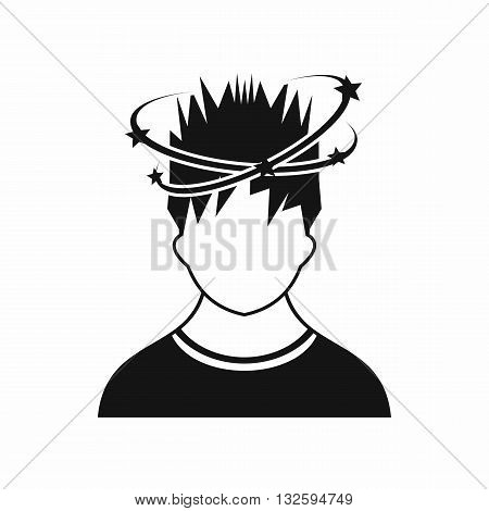 Man with dizziness icon in simple style isolated on white background