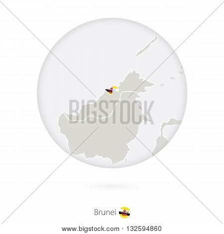 Map Of Brunei And National Flag In A Circle.