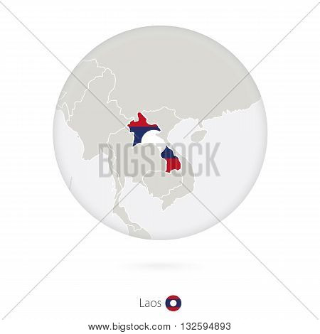 Map Of Laos And National Flag In A Circle.