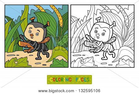 Coloring Book For Children. Little Ant On The Meadow