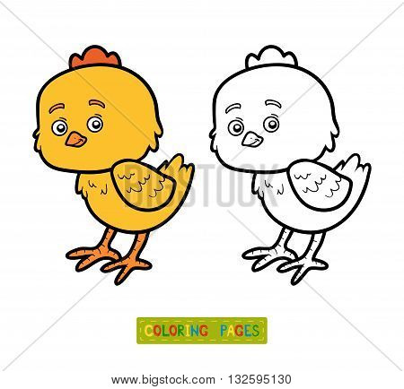 Coloring book for children coloring page with little chick