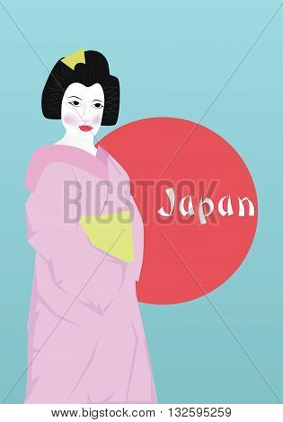 Stock Photo - Geisha on blue sky background .