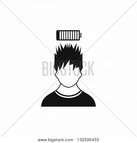 Man with low battery over head icon in simple style isolated on white background