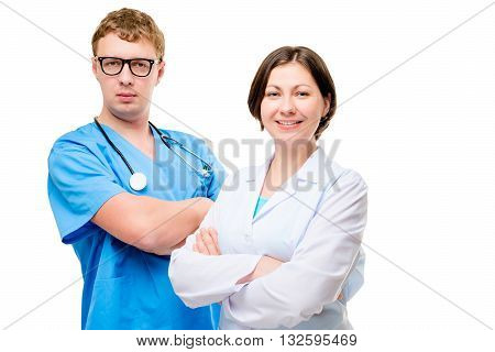 Young And Experienced Doctors Working In Team Portrait Isolated
