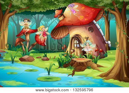 Fairies flying around mushroom house illustration