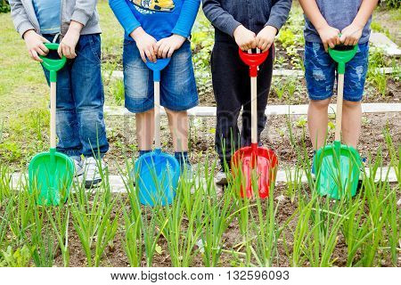 Four boys playing with plastic shovels in the garden at summer day