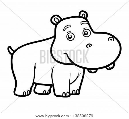 Coloring book for children coloring page with little hippo