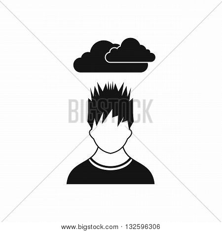 Depressed man with dark cloud over his head icon in simple style isolated on white background
