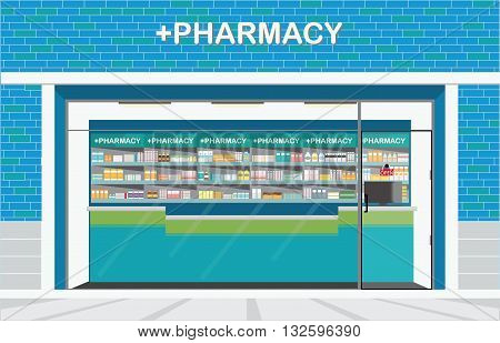 Building exterior front view and interior of drug store or pharmacy shop with shelves of medicines conceptual vector illustration.