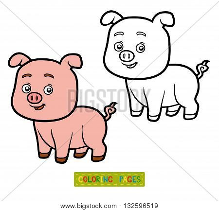 Coloring book for children coloring page with little pig