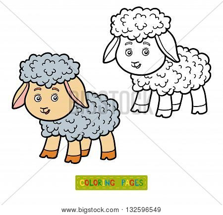 Coloring book for children coloring page with little sheep