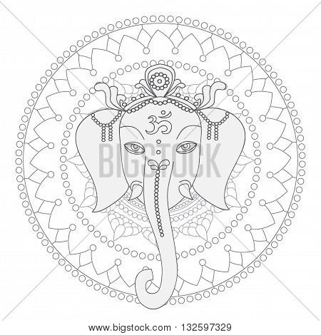 Greeting Beautiful card with Elephant.  Design elements for birthday and other holiday.  Hinduism God Ganesha with mandala. Line art indian religion.