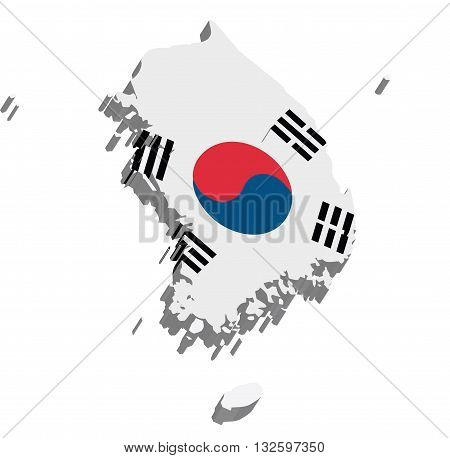 A map of South Korea 3D on white background