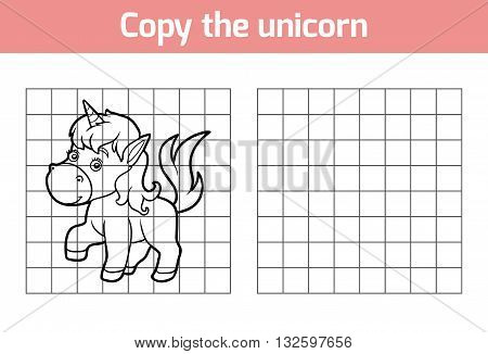 Copy The Picture For Children. Animal Characters, Unicorn
