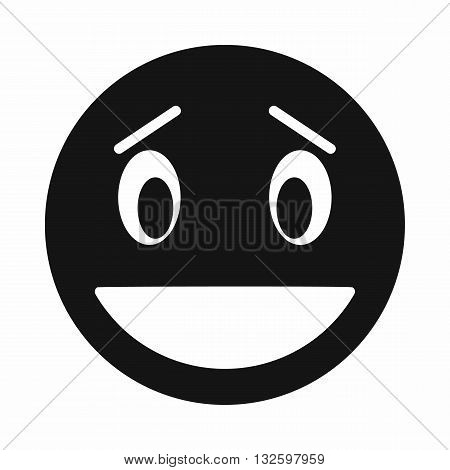 Confused emoticon with open mouth icon in simple style isolated on white background