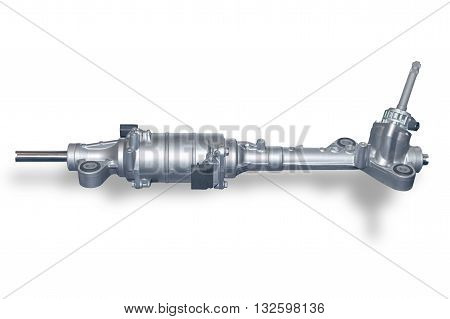 Car steering gear isolated on white background. New spare parts for passeger car. Chassis parts for aftermarket.