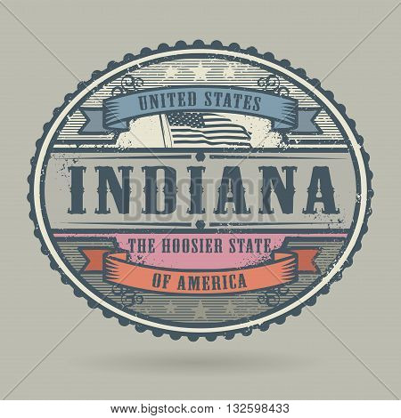 Vintage stamp or label with the text United States of America, Indiana, vector illustration