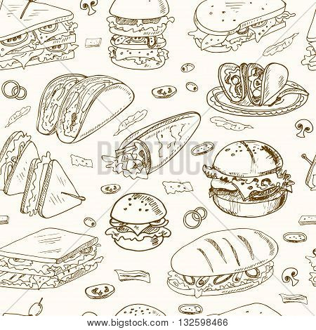 Vector sandwiches seamless pattern Club sandwich cheeseburger hamburger deli wrap roll taco baguette bagel toast. Illustration for menus, recipes and packages product