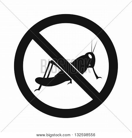 No locust sign icon in simple style isolated on white background