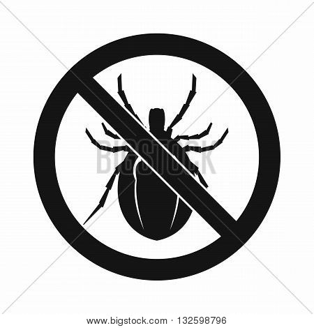 No bug sign icon in simple style isolated on white background