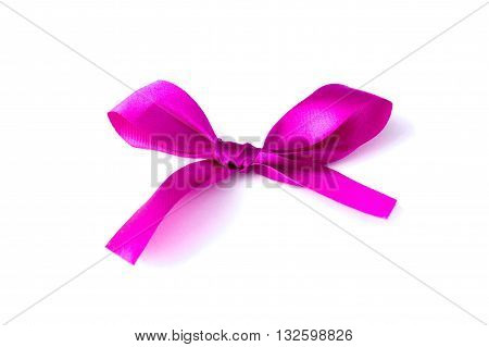 Pink Bow Ribbon isolated on white background