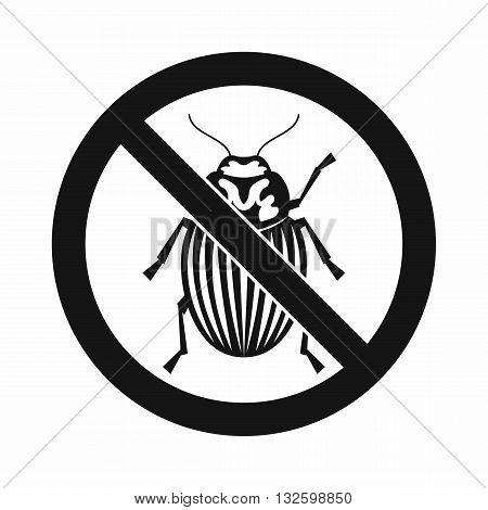 No potato beetle sign icon in simple style isolated on white background