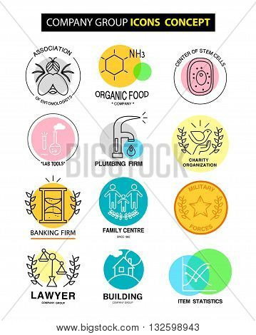 Vector company group icons concept isolated on white background. Flat icon set logo insignia symbol brand. Artistic collection for science family clinic banking firm social organisation laboratory work.