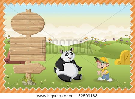Card with a wooden signs. Cartoon children playing with a panda bear on a green park.