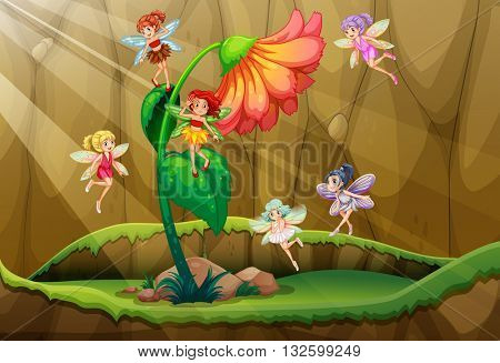 Fairies flying around the flower illustration