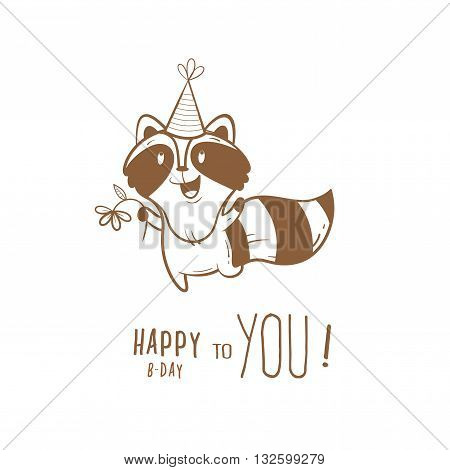 Birthday card with cute cartoon raccoon  in party hat. Little funny animal. Children's illustration. Vector contour image. Transparent background.