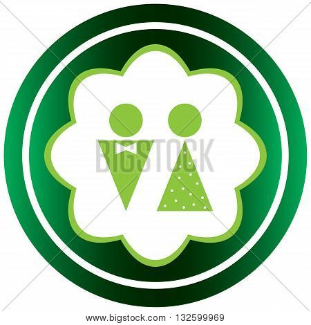 Green icon with a symbol of the man and woman