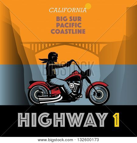 Vintage Califronia motorcycle adventure poster, vector illustration