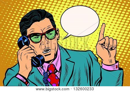 Business boss talking on the phone pop art retro vector. The business negotiations. Telephone support. Retro background