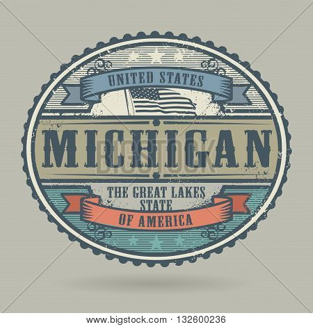 Vintage stamp or label with the text United States of America, Michigan, vector illustration