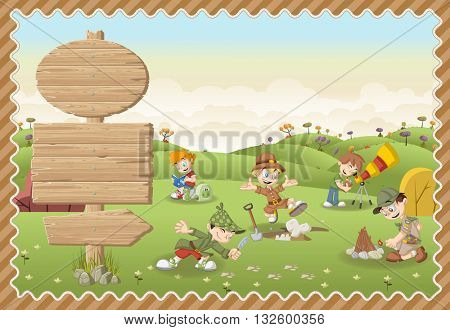 Card with a wooden signs. Cute cartoon explorer boys on a green park.