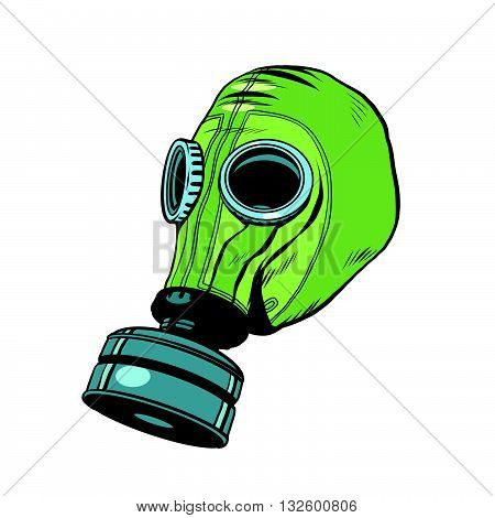 Gas mask, vintage rubber green pop art retro vector. Chemical and biological protection. Military equipment, nuclear contamination. War, White background