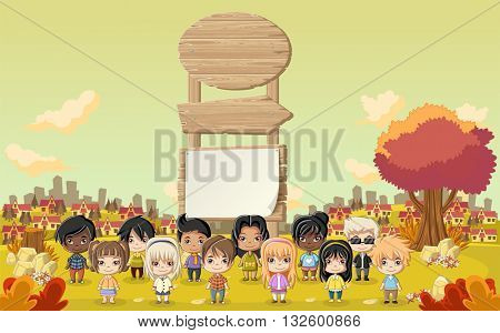 Wooden sign on colorful park with cartoon children playing.