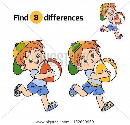 Find Differences For Children. Little Boy With A Ball