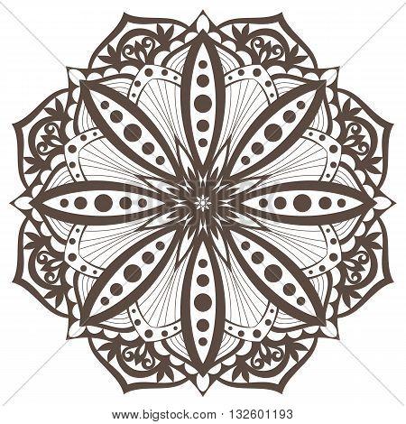 Vector Mandala. Oriental decorative element. Islam, Arabic, Indian, turkish, pakistan, chinese, ottoman motifs. Ethnic design elements. Hand drawn mandala. Monochrome contour mandala for coloring.