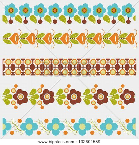 Set of five floral and geometric seamless colored borders