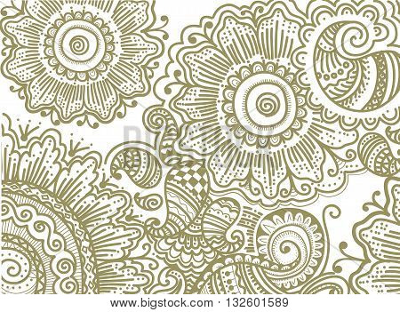 Hand drawn pattern with flowers, vector illustration