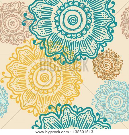 Seamless hand drawn pattern with flowers, vector background