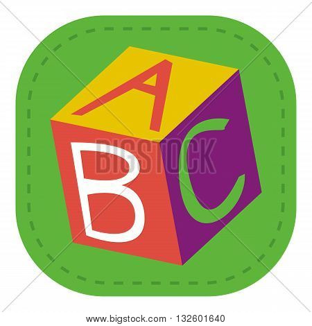 design Baby icon toy cube_Color letter illustration logo