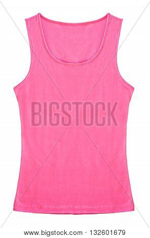 Pink Sleeveless shirt woman isolated on white background. Save clipping path.