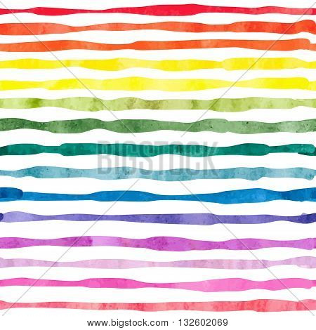 Watercolor horizontal stripes seamless pattern. Striped colorful vector background.