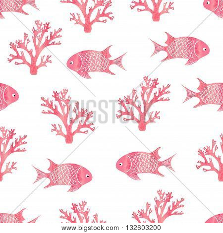 Watercolor seamless pattern with fish and corals. Pink vector background. Underwater world.