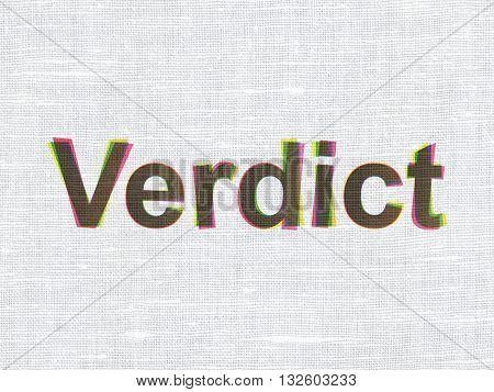 Law concept: CMYK Verdict on linen fabric texture background