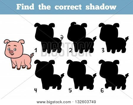 Find The Correct Shadow. Little Pig