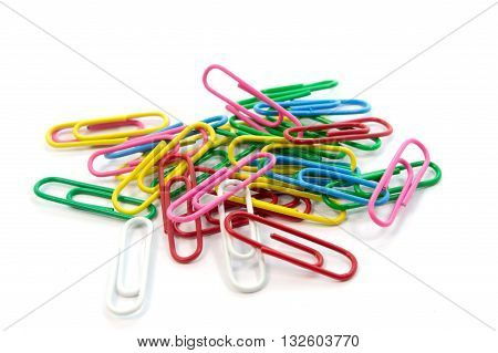 Paper clips colorful isolated on white background